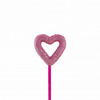 Pick Coração Vazado 5,5cm 1pc Rosa