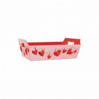 Bandeja Vintage Love Line 21cmx15cmx6,5cm 4pc Rosa/Vermelho