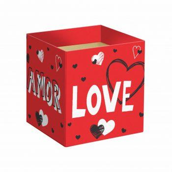 Cachepot Quadrado Valentine 14,5cmx14,5cmx15,5cm 10pc Vermelho