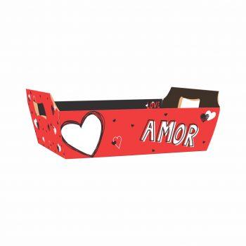 Bandeja Vintage Valentine 32cmx23cmx10cm 4pc Vermelho/Preto