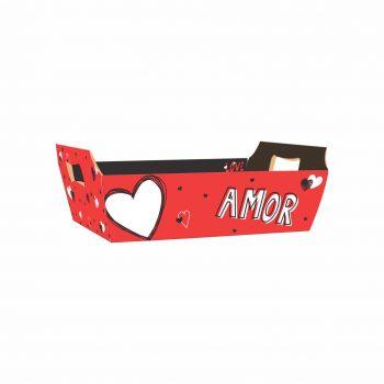 Bandeja Vintage Valentine 26cmx18cmx8,5cm 4pc Vermelho/Preto