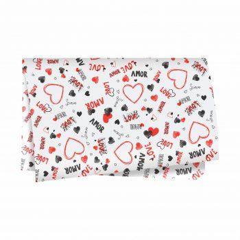 Poli Valentine 49cmx69cm 50fls Branco/Vermelho