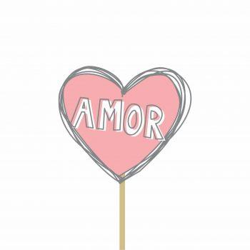 Pick MDF Valentine Coração 71mmx80mm 1pç Rosa