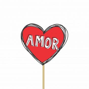 Pick MDF Valentine Coração 71mmx80mm 1pç Vermelho