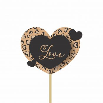 Pick MDF Love Print 64mmx83mm 1pç Natural/Preto