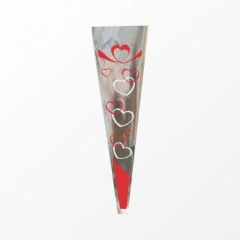 Manga Cone Love Sweet 48cmx15,5cmx2,5cm 100pc Vermelho/Branco
