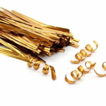 Arame Brilhante 11 Cm Pacote C/ 100 Pçs Dourado