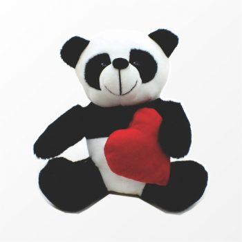 Decorativo Pelúcia Panda C/ Coração 17cm Preto/Branco