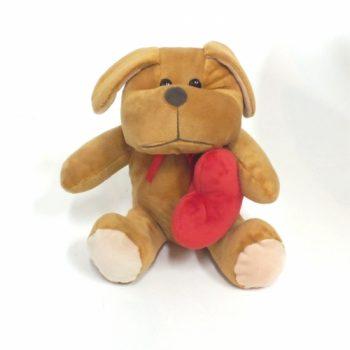 Decorativo Pelúcia Cachorro C/ Coração 19cm Bege