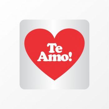 Etiqueta Adesiva Te Amo 4,0cmx4,0cm 50pc Vermelho/Branco