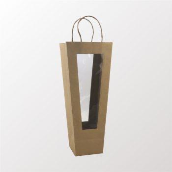 Sacola Kraft Com Visor 44,5cmx11,4cmx12cm Natural
