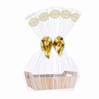 Saco Poli Barrado Elegance 80cmx88cm 25pçs Ouro/Branco