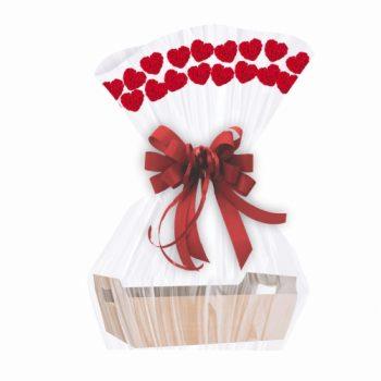 Saco Poli Barrado Heart Roses 60cmx88cm 25pçs Vermelho