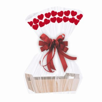 Saco Poli Barrado Heart Roses 80cmx88cm 25pçs Vermelho