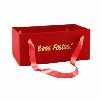 Caixa Kit Boas Festas C/ Alça 20cmx12cmx10cm 1pç Vermelho