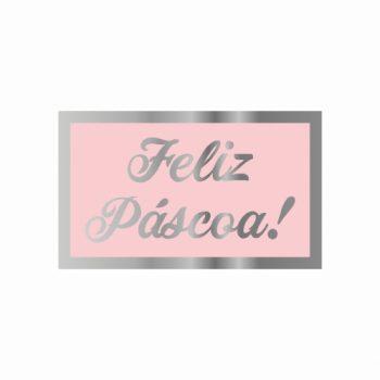 Etiqueta Adesiva Feliz Páscoa 03cmx05cm 50pc Rosa/Prata