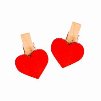 Decorativo Prendedor Coração Pequeno 06pçs Vermelho