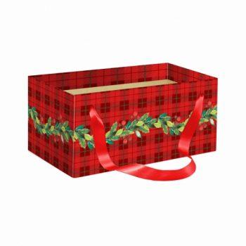 Caixa Kit Holly C/ Alça 20cmx12cmx10cm 1pç Vermelho/Verde