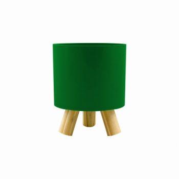 Cachepot Acrílico Pliê C/ Pés De Madeira 11,5cmx14cm 1pç Verde Escuro