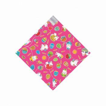 Saco 02 Bocas Pratik Metalizado Happy Bunny 45cmx45cm 25fls Pink