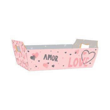 Bandeja Vintage Valentine 32cmx23cmx10cm 4pc Rosa/Cinza