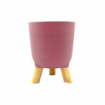 Cachepot Acrílico Brulet C/ Pés De Madeira 16cmx12,5cm 1pç Rosé