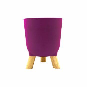 Cachepot Acrílico Brulet C/ Pés De Madeira 16cmx12,5cm 1pç Violeta